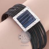 Bracelet argent et cuir - panneau carré