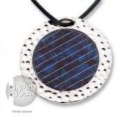 Collier avec ficelle cuir - panneau solaire rond