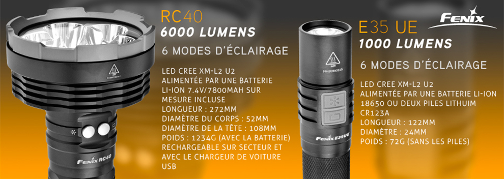 Fenix RC40 6000 lumens édition 2016 et UC35 best seller