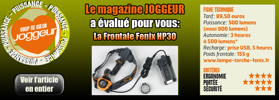 Article sur la Fenix HP30 du magazine JOGGEUR