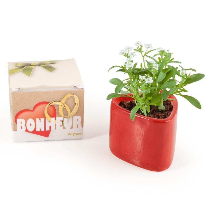 Cadeau table de mariage avec graines de fleur blanche