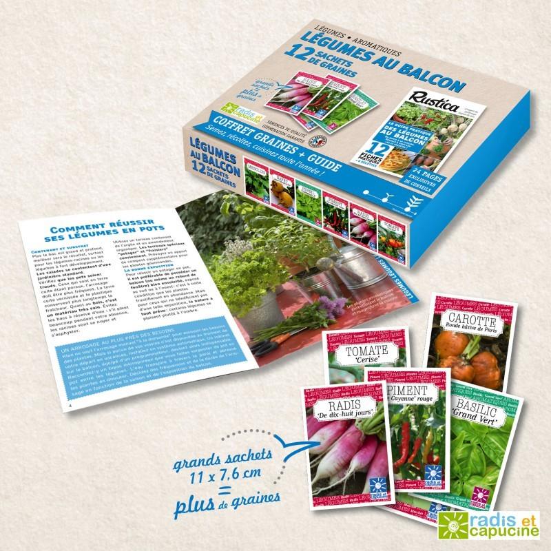 Des légumes sur le balcon Coffret 12 sachets + guide Rustica