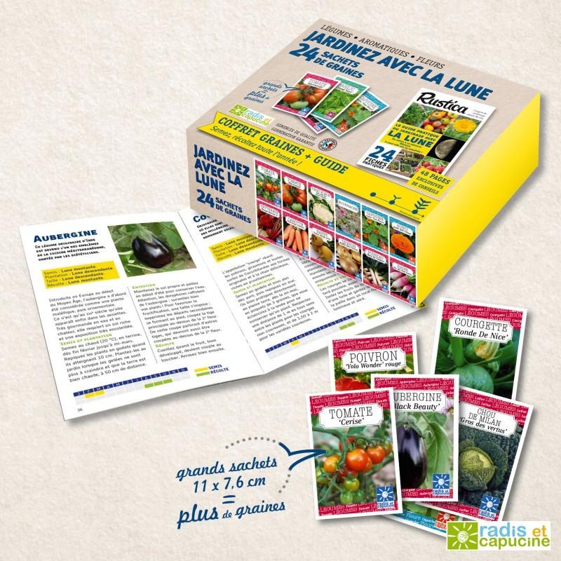 Jardiner avec la lune Coffret 24 sachets + le guide Rustica