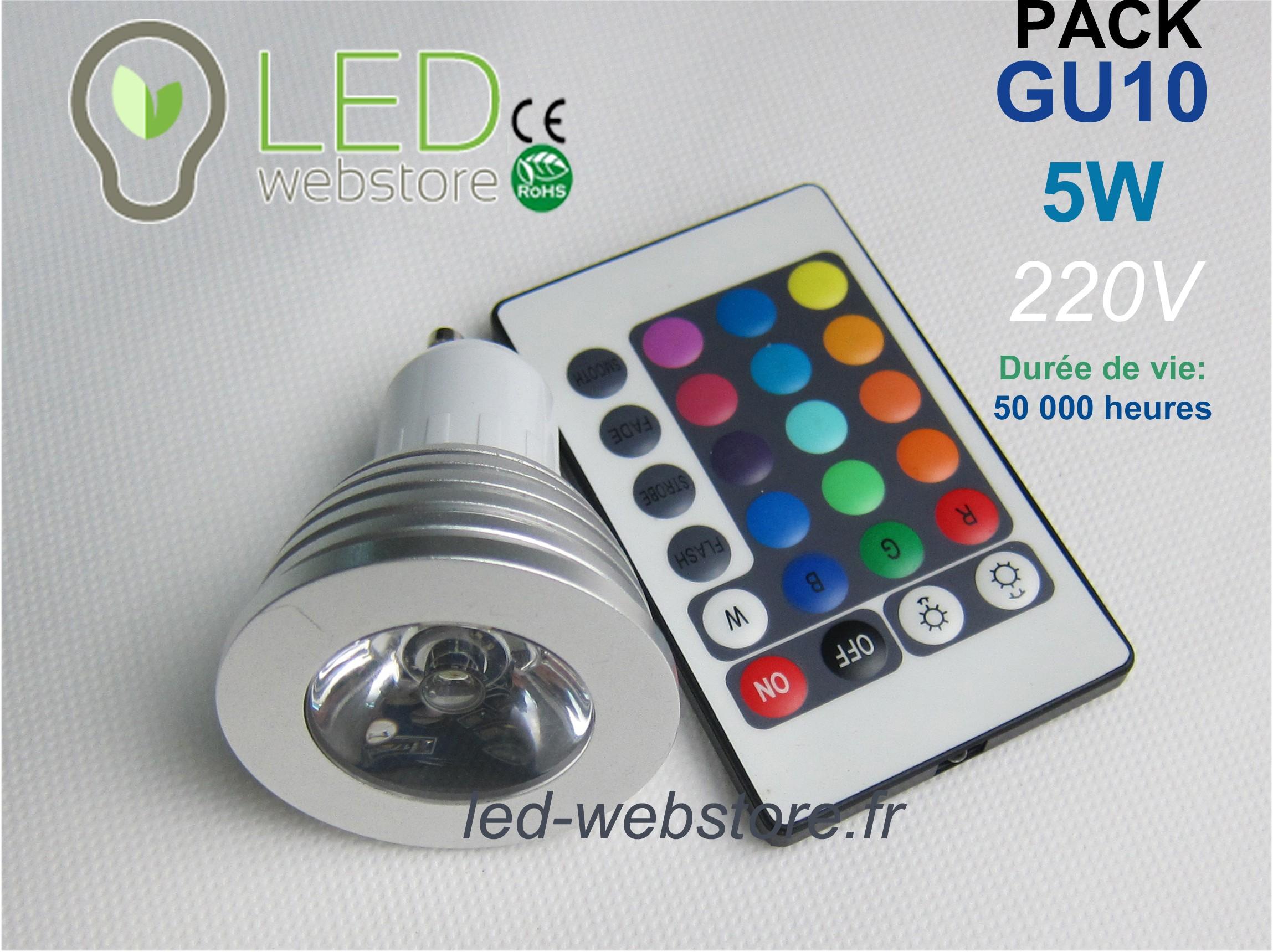 pack de 2 ampoules led multicolore rvb gu10 5w avec 2 tlcommandes - Spot Led Multicolore