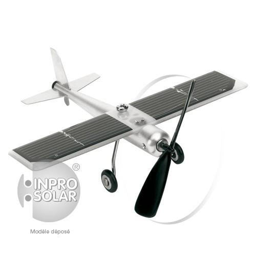 Avion solaire de table en métal