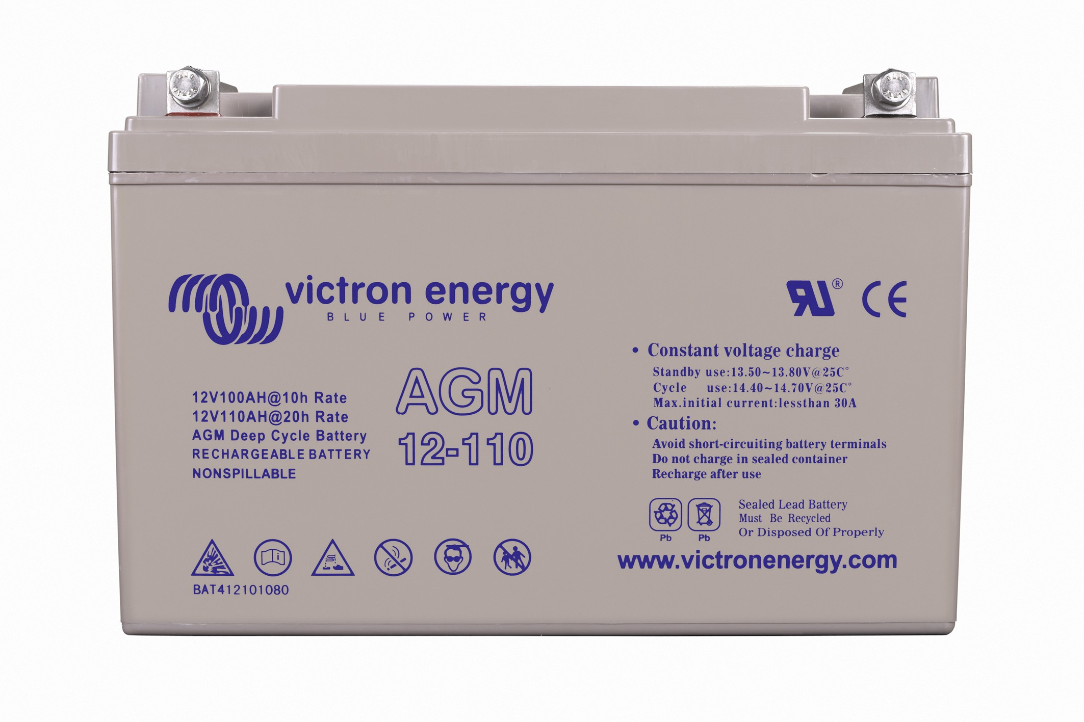Batterie AGM Deep Cycle - 12V 110Ah Victron Energy - BAT412101080