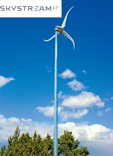 Éolienne SKYSTREAM 3.7 terrestre, pour injection réseau 230V 50Hz.