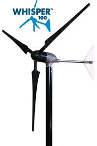 Éolienne terrestre WHISPER 100 - 900W, 12 A, (12, 24, 48V configurable) avec contrôleur