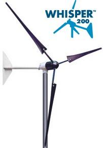 Éolienne terrestre WHISPER 200 - 1000W, 12 A, (12, 24, 48V configurable) sans contrôleur