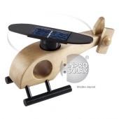 Hélicoptère solaire en bois avec rotor arrondi - couleur bois naturel