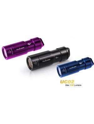 mini lampe torche Fenix UC02 (130 Lumens - rechargeable avec batterie - violette bleue ou noire)