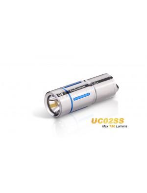 Mini lampe torche Fenix UC02 (130 Lumens - rechargeable avec batterie - Or ou Bleu en Stainless steel)