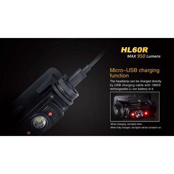 Lampe Frontale Rechargeable Fenix Hl60r 950 Lumens Usb Avec Pile
