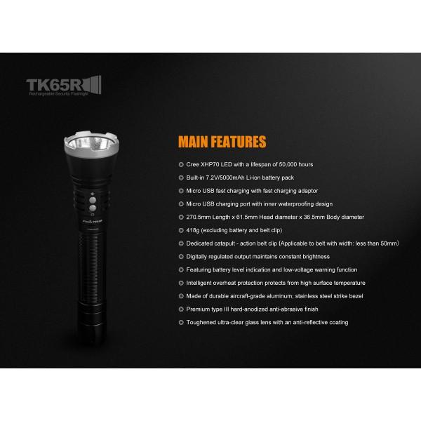 Fenix Torche Lumens Tk65r Rechargeable 3200 Puissante Lampe Très wk8O0nP