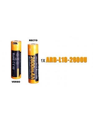 Pile FENIX rechargeable USB - Fenix ARB-L18 (18650 - 2600 mAh U pour toutes les lampes Fenix utilisant des 18650)
