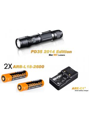 Pack Fenix PD35 édition 2014 - 960 Lumens + 2 Piles rechargeables + Chargeur ARE-C1+