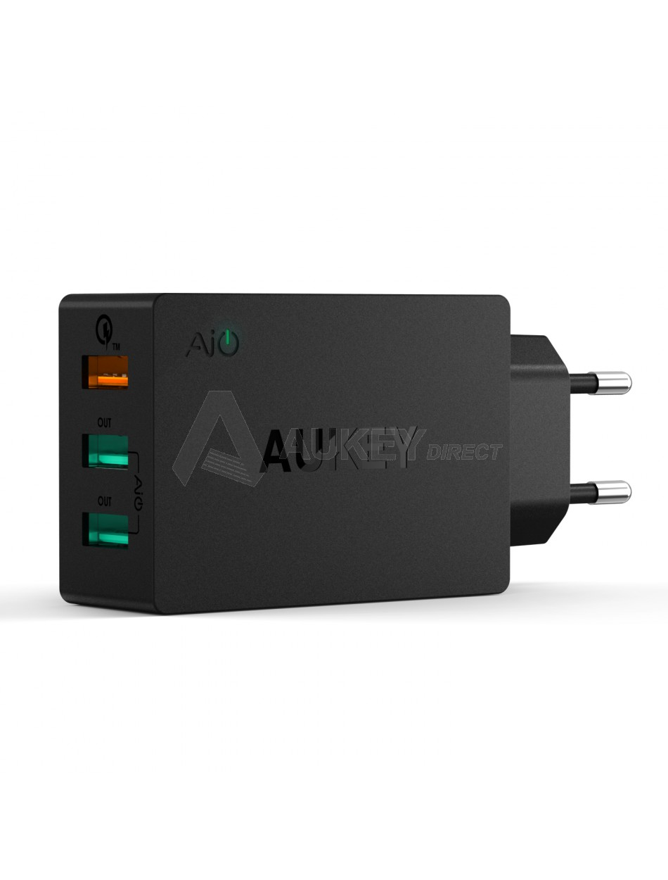 AUKEY PA-T2 wall charger 42W 3 ports Quick Charge 2.0 (Black)