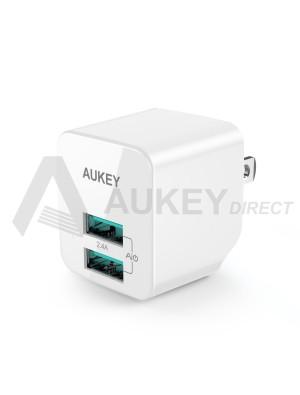 AUKEY PA-U32 12W Dual USB Wall Charger Adapter soket USA (White)