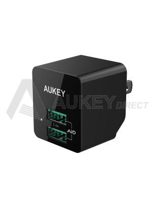 AUKEY PA-U32 12W Dual USB Wall Charger Adapter soket USA (Black)