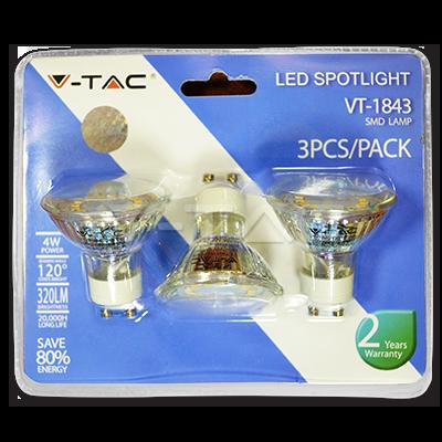 Lot de 3 ampoules spot LED GU10 4W 220V - sous blister