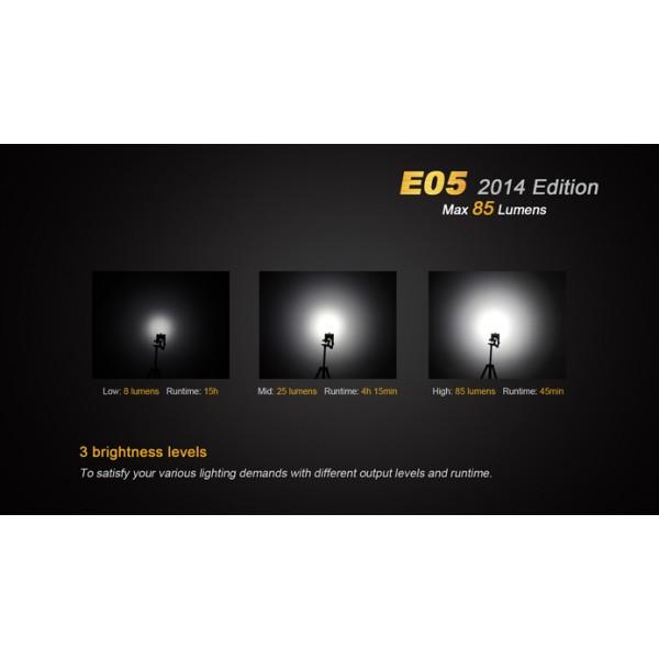 Fenix e05 2014 edition max 85 LM DEL Lampe de poche pour le trousseau de clés