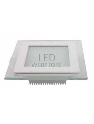 Panneau encastrable LED 12W - en Verre Carré couleur modifiable - 3000K/4500K/6000K