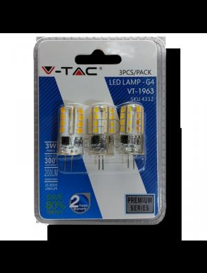 Spot LED 3W 12V G4 - Blister de 3pcs SILICIUM - Blanc Chaud