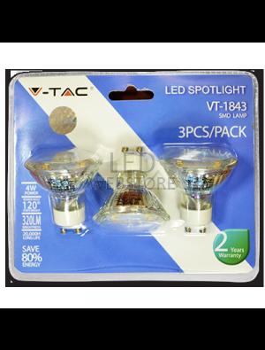 Spot LED 4W 230V GU10 Verre - Blister de 3pcs - Blanc naturel
