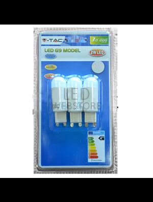 Spot LED 2W 230V G9 - Blister de 3pcs - Blanc Chaud