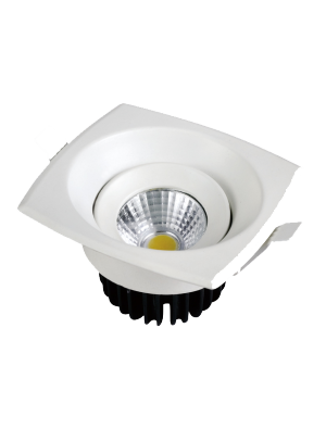 Spots LED encastrables COB 8W - Carré - Blanc chaud