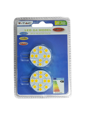 Spot LED 2.5W G4 12V - Blister de 2 pcs - LED SMD5050 - Blanc Chaud