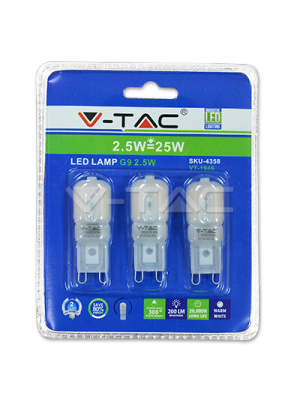 Spot LED 2.5W 230V G9 - Blister de 3pcs - Blanc froid