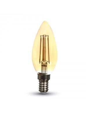 Ampoule LED 4W 230V E14 - Verre bougie ambré - Blanc Chaud