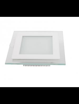 Mini Panneau encastrable LED 12W - en Verre Carré - Blanc chaud