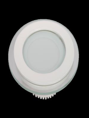 Mini Panneau encastrable LED 6W - en Verre Rond - Blanc chaud