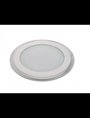 Mini Panneau encastrable LED 12W - en Verre Rond - Blanc froid