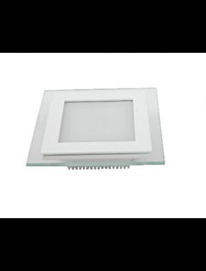 Mini Panneau encastrable LED 18W - en Verre Carré - Blanc chaud