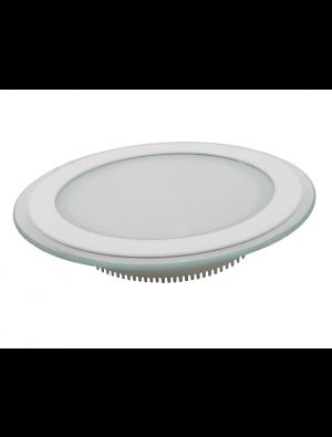 Mini Panneau encastrable LED 18W - en Verre Rond - Blanc chaud