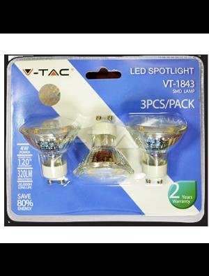 Spot LED 4W 230V GU10 Verre - Blister de 3pcs - Blanc chaud