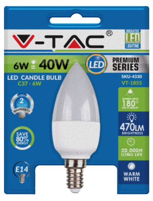 Ampoule LED - 6W 230V E14 Blister Pack - Bougie - Blanc chaud