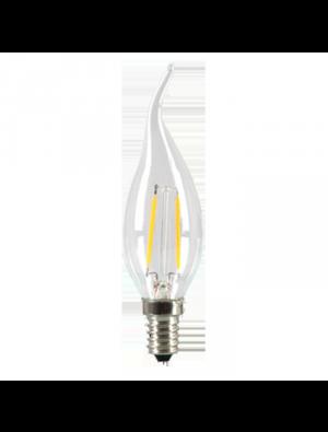 Ampoule LED 2W 230V E14 - Verre bougie flamme - Blanc Chaud