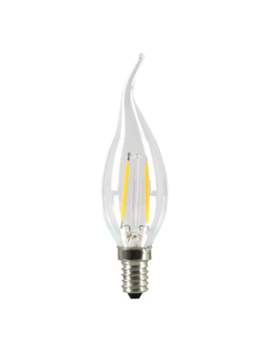 Ampoule LED 2W 230V E14 - Verre bougie flamme - Blanc naturel