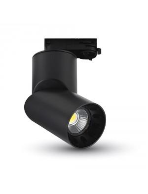 Lampe rail LED 20W - Noir rond - Blanc froid