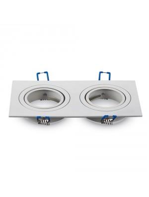 Montage pour spots LED 2*GU10 Blanc Carré