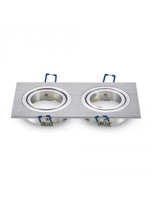 Montage pour spots LED 2*GU10 Aluminium griffé