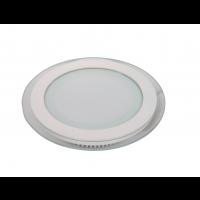 Mini Panneau encastrable LED 12W - en Verre Rond - Blanc chaud