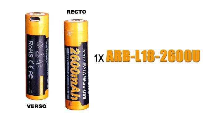 Pile FENIX rechargeable USB - Fenix ARB-L18 - 18650 - 2600 mAh U pour toutes les lampes Fenix utilisant des 18650