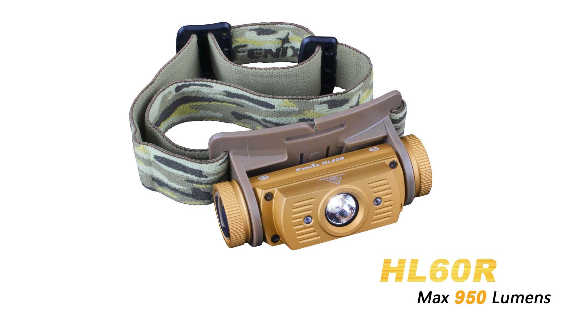 Fenix HL60R Désert - 950 Lumens - lampe Frontale rechargeable USB avec pile