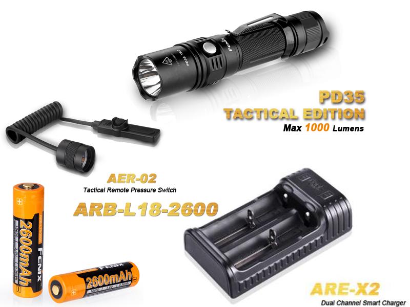 Pack Fenix PD35 Tactical édition - 1000 Lumens