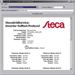 StecaGrid Service Inverter Selftest Protocol